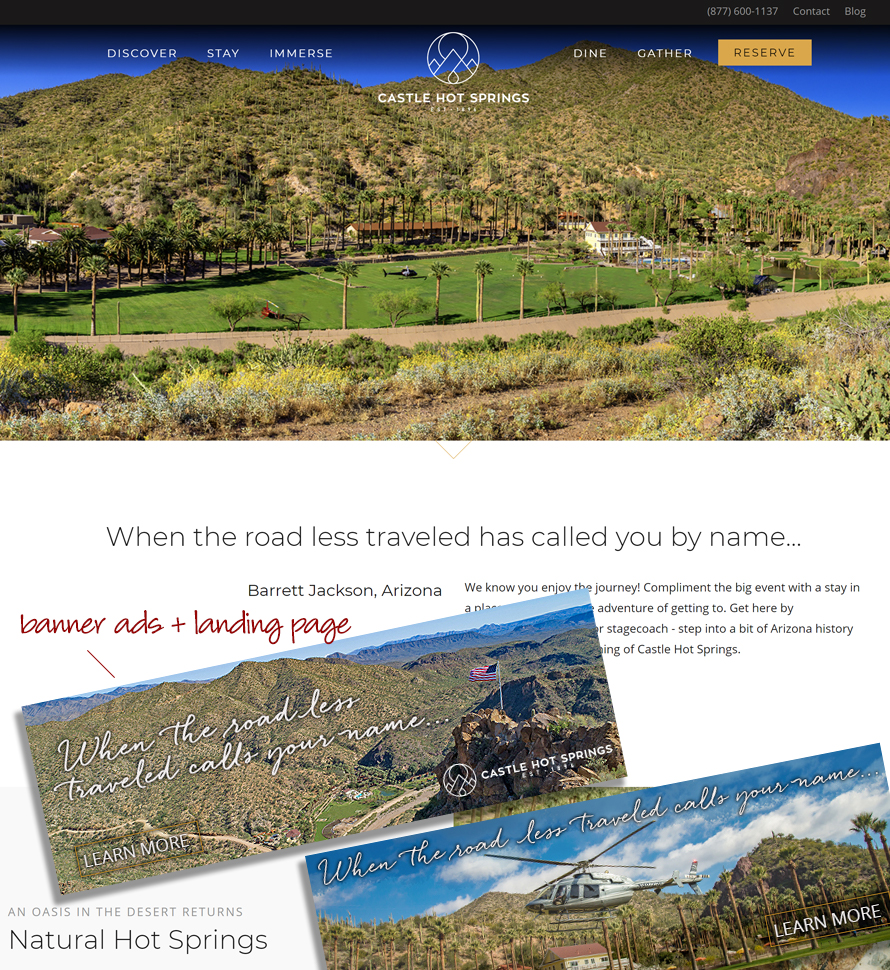 Castle Hot Springs Landing Page + ads